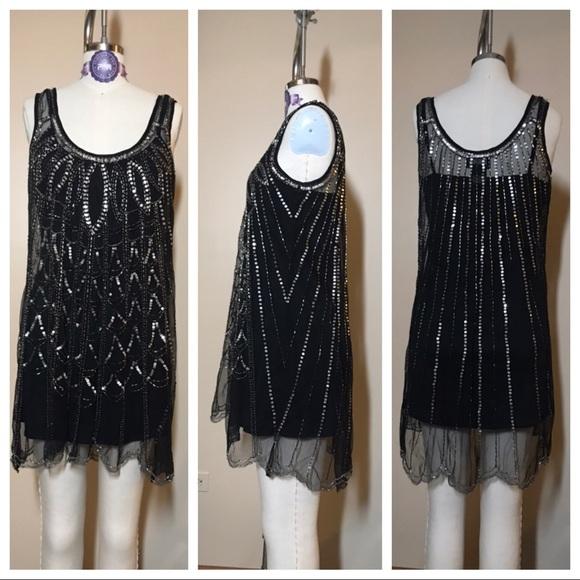 Angie Tops - Black beaded tunic top/mini dress